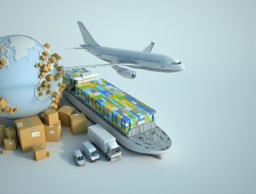 3D  rendering of the Earth surrounded by cardboard boxes, a cargo container ship, a flying plain, a car, a van and a truck